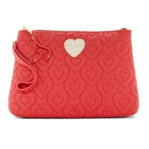 Betsey Johnson Heart in Heart Red Quilted Wristlet